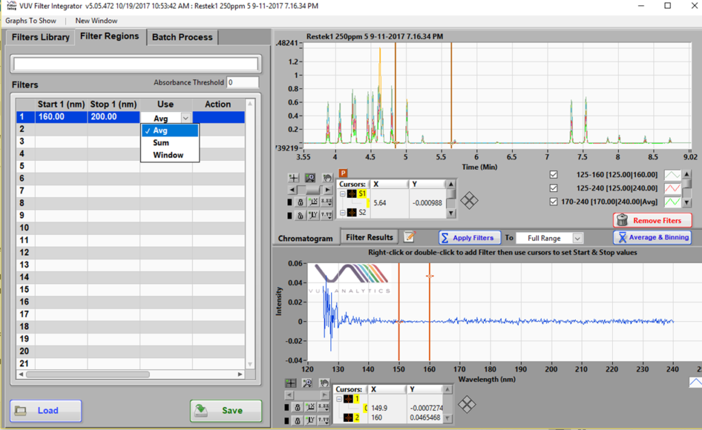 Spectral Filters can be prepared using the Filter Integrator part of the VUV software. An example where a 160 – 200 nm SF is being made is shown here.