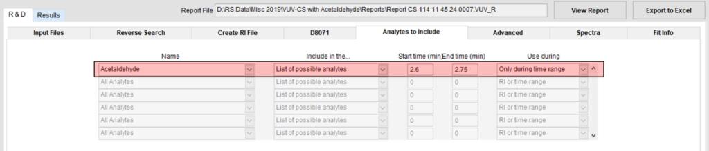 Analytes to include Analyze